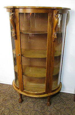 58000 Oak Lion Head Bow Glass China cabinet Curio