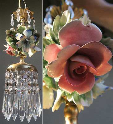 Porcelain Chandelier SWAG lamp Capodimonte Roses Flowers Brass Vintage crystals