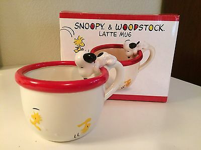 Vintage Peanuts Snoopy Woodstock Ceramic Latte Mug in Original Box Macy's 1990's