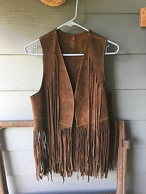 Vtg 1960's 70's Brown Fringed Suede Leather HiPPiE BoHo Vest Woodstock Style!!