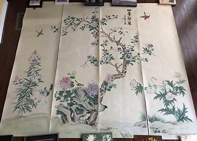"Chinese Watercolor on Silk 4 Screen Painting Scrolls Of "" Four Season Bustling """