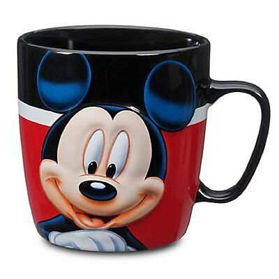 Disney Store Mickey Mouse Coffee Mug Cup Bright Red Black - NEW!