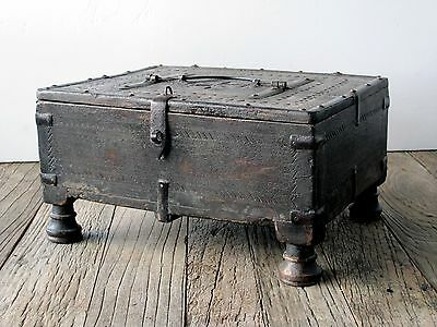 Antique Early Indian Rajasthan Teak and Wrought Iron Dowry Box 18th century