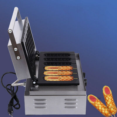 Commercial Nonstick Electric French Hot Dog on A Stick Waffle Maker Iron Baker