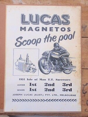Lucas Magneto's Motorcycle , Advertisment  19 x 27