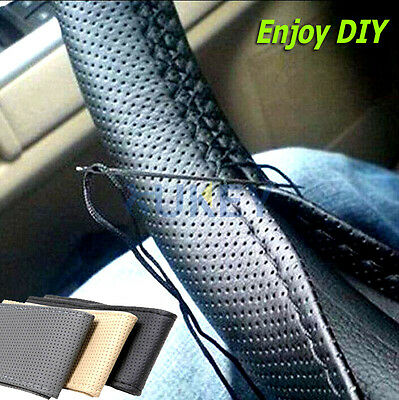 Black PU Leather DIY Car Steering Wheel Cover With Needles Thread Hand Stitch