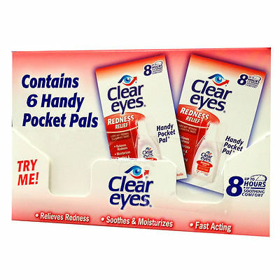 6 Pack Of Clear Eyes Drops Redness Relief 0.2 Oz.6 Ml Exp (2019)