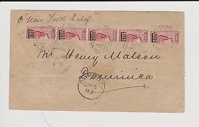 """1883 Antigua Postage-Stamps Overprinted """" MONTSERRAT""""-SG 1 a-Cover 1d red bisect"""