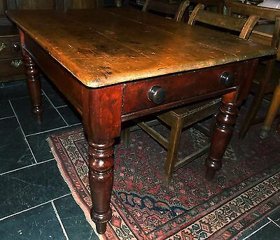 Antique Victorian PINE SCRUBTOP TABLE kitchen dining farmhouse rustic drawer 4-6