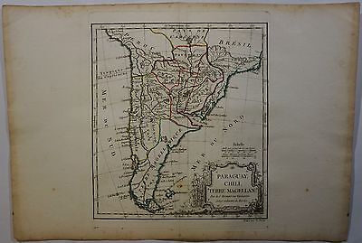 1778 Original Map South America Uruguay Paraguay Argentina Chile Brasil Vaugondy