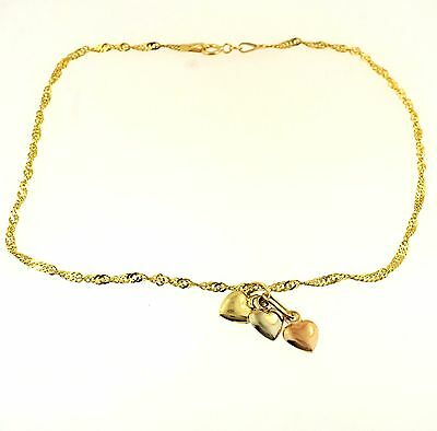 """9Ct Yellow Gold 9.5"""" Twisted Curb Anklet w/ Three Coloured Heart Charms (5x6mm)"""