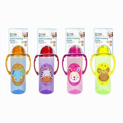 First Steps 250ml Newborn baby Jungle Pals Feeding Bottle with Handles-4 Bottles