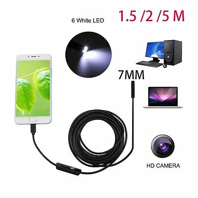 1.5/2/5M Cable 7mm 6 LED USB Lens Android Endoscope Inspection Video Camera UK A