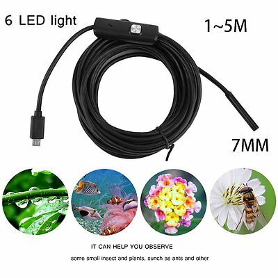 Waterproof 7mm 6LED Android Endoscope Borescope Snake Inspection Camera Scope UK