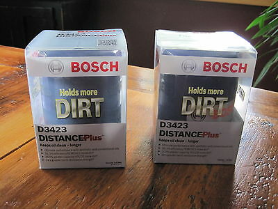 Lot of 2 Engine Oil Filter Bosch D3423 Distance Plus. New in Box