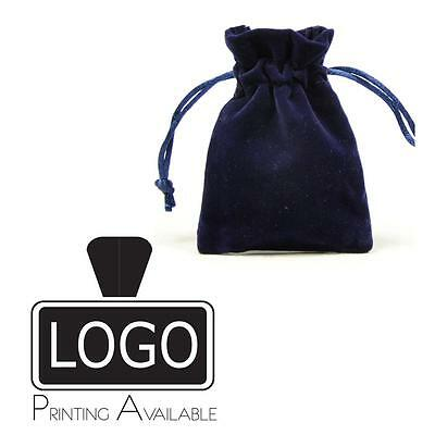 Navy Double Sided Velvet Jewellery Gift Pouches Bags 70x100mm Printing Available