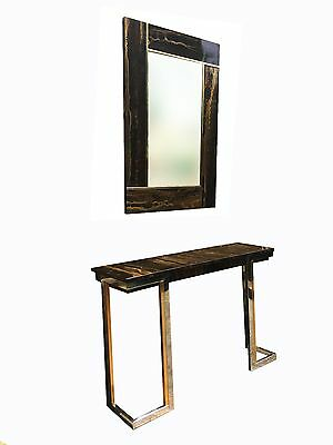 STUNNING RARE 1970s FRENCH CONSOLE HALL TABLE AND MATCHING MIRROR RIZZO BAUGHMAN