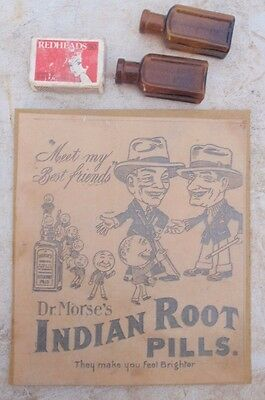 Dr Morses Indian Root Pills, bottles  & Advert