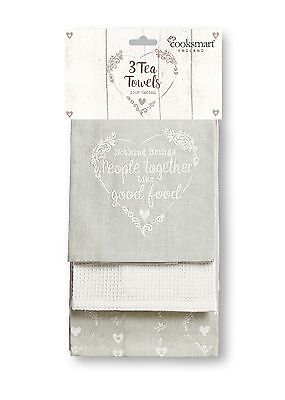 Cooksmart Food for Thought Pack of 3 Tea Towels