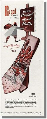 1947 Golfer in ruff - Regal Hand Painted Tie Print-Ad
