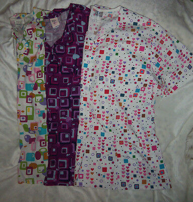 SCRUB TOPS by WHITE SWAN 2 WHITE BARCO JUNIOR PURPLE NURSE VET DENTAL SCRUBS LOT