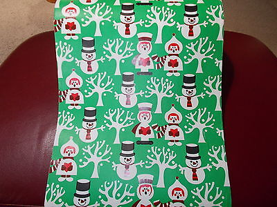 Vtg Christmas Department Store Wrapping Paper 2 Yards Gift Wrap Snowman Carolers