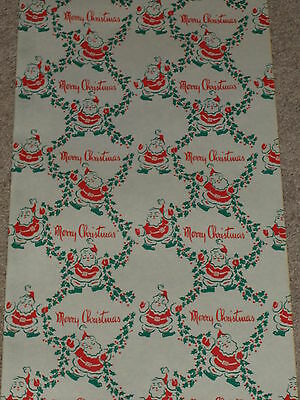 Vintage Ww2 Christmas Department Store Wrapping Paper 2 Yards Gift Wrap Santa