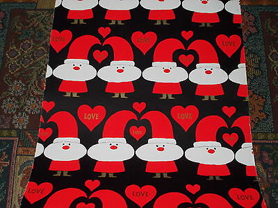 Vtg Christmas Store Wrapping Paper 2 Yards Gift Wrap Retro Groovy Santa Love