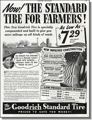 1940 Goodrich Standard Tire For Farmers Photo-Ad