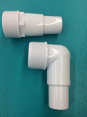 """2 Pool Filter Pump HOSE ADAPTER 1 1/4""""-1 1/2"""" Thread 1.5"""" Fitting Connector PVC"""