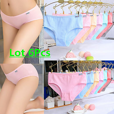 Lot Women Girls Comfortable Cotton Mixed Panties Solid Briefs Underwear Knickers