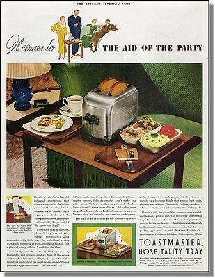 1936 Toastmaster toaster & hospitality tray come to the aid of the party ad