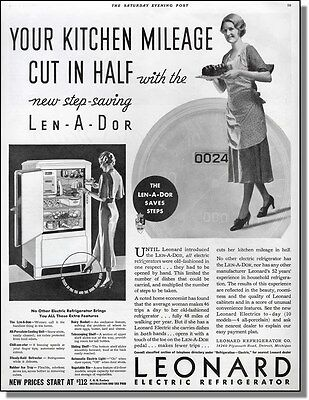 1933 Leonard electric refrigerator with foot controlled door print-ad