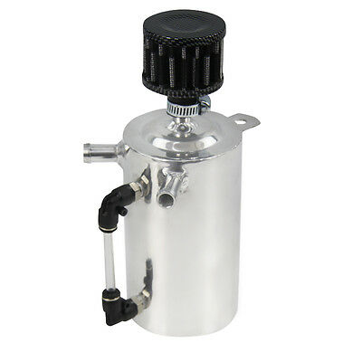"""0.5L POLISHED 13mm 1/2"""" BARB ALUMINIUM OIL CATCH CAN TANK BREATHER FILTER 500ML"""