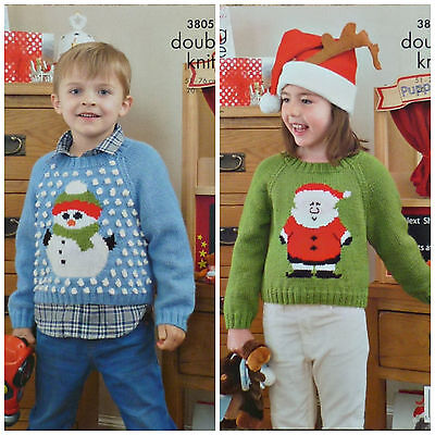 Childrens Christmas Santa Sleigh And Reindeer Jumper Dk Knitting