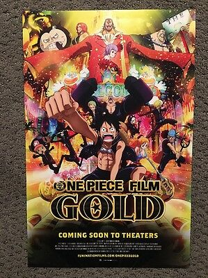 """One Piece Film Gold 11"""" x 17"""" Poster Funimation 2016 NYCC Comic Con Exclusive"""