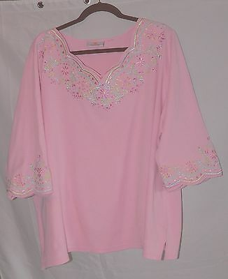 Quacker Factory Light Pink Embroidery and Gemstones Bust 58 2x