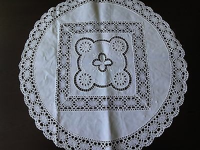 Vintage Handmade Cutting Embroidered Linen White Brussels Lace Tablecloth