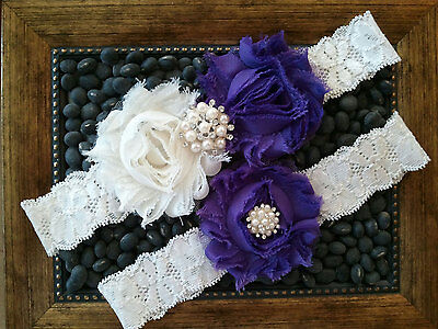 Wedding garter, Bridal Garter Set - IVORY & LIGHT PURPLE Wedding Garter Set