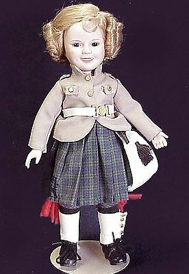 """SHIRLEY TEMPLE """"WEE WILLIE WINKIE""""   PORCELAIN DOLL 14 INCHES  80s"""