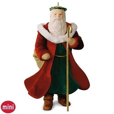 Father Christmas 2016 Hallmark MINI Christmas Tree Ornament Red Robe  Santa Sack