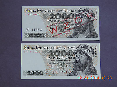 Poland - 2 Pc Set 2000 Zl  1979/1982 -Wzor/specimen- Rare Bs Series -  Gem Unc