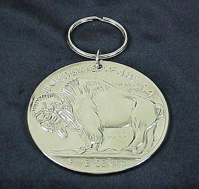 Extra Large 1935 Buffalo Indian Head Nickel Silver Tone Metal Key Ring Chain