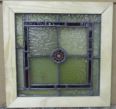 "VICTORIAN OLD ENGLISH LEADED STAINED GLASS WINDOW Simple Geometric 12.5"" x 12.5"