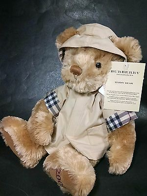 Burberry Fragrances 11 In. Plush Teddy Bear by Russ Berrie w/ Rain Jacket + Tags