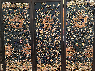 A Rare and Large Qing Dynasty Embroidered Silk Dragon Three-panel Room Screen.