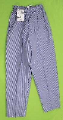 Chef Pants Sz XS Chef Works Blue Checkered Cooking Restaurant Elastic Waistband