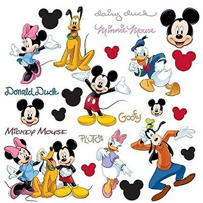 30 Disney MICKEY MOUSE Wall Decals MINNIE PLUTO GOOFY Boys Room Stickers Decor