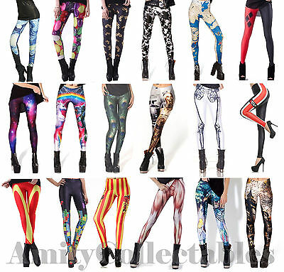 Women's [Ladies] Printed Leggings Stretchy [Galaxy, Halloween, Milk, Black]