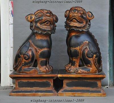 huge old china fengshui lacquerware wood foo dog lions Evil Guardian statue pair